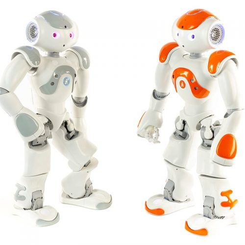 Two robots with alternating accent colors of red and orange stand facing each other