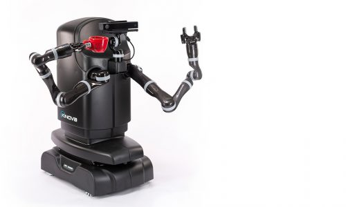 Kinova the two armed robot is holding a red mug with its arms raised up